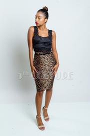 Wild Leopard Belted Pencil Skirt