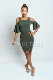 Cold Shoulder Flounced Sleeved Tube Dress