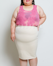 Plus Size Solid Pencil Skirt
