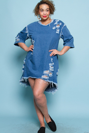 Plus Size Classic Distressed In Denim 3/4 Sleeved Tunic Dress