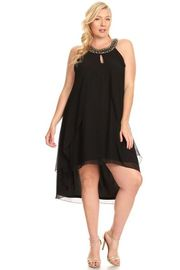 Plus Size Beaded Ncck Cleopatra Overlap Sheer Tunic Dress