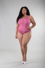 Plus Size Embroidered Flowers All Mesh Sexy Bodysuit