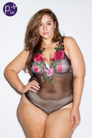 Plus Size Sweet Floral Patch Sexy Mesh Bodysuit