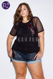 Plus Size Floral Patch Lined Mesh Combo Top