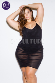 Plus Size V-neck Ruched Sexy Mesh Tube Dress