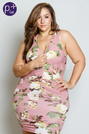 Plus Size Zip Down Floral Ruched Tube Dress