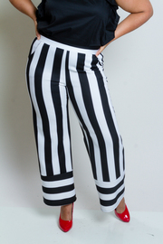 Plus Size Referee Striped Palazzo Pants