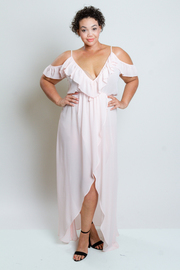 Plus Size V-neck Cold Shoulder Ruffled Maxi Dress