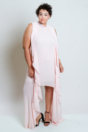 Plus Size Cascade Side Tube Solid Dress
