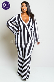 Plus Size Surplice Striped Style Flared Out Jumpsuit
