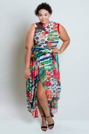 Plus Size Tropical Night Mesh Tulip Overlap Maxi Dress