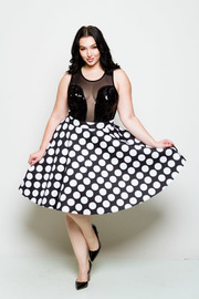 Plus Size High Waist Polka Dot Skater Skirt