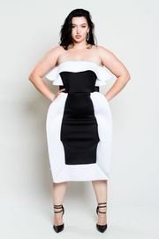 Plus Size Very Unique Two Toned Cocktail Strapless Dress