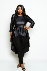 Plus Size Faux Leather Hi Low Classy Top