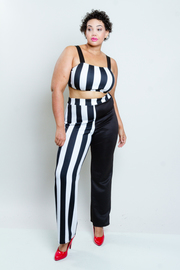 Plus Size Trendy Striped 2-Piece Croppes Palazzo Pants Set