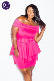 Plus Size Off Shoulder Peplum Asymmetric Mini Dress