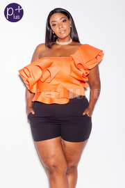Plus Size One Shoulder Trendy Ruffled Out Crop Top