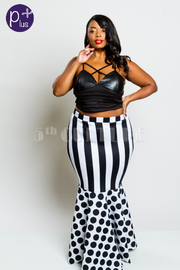 Plus Size Mermaid Style High Waist Striped & Dots Skirt