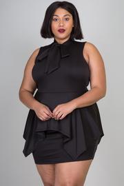 Plus Size Mandarin Bow Tie Neck Peplum Mini Tube Dress