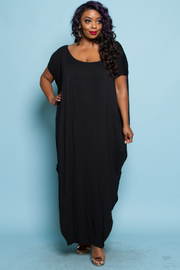 Plus Size Wide Neck Solid Jersey Harem Maxi Dress