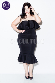 Plus Size Sexy In Strapless Flounce Mermaid Tube Dress