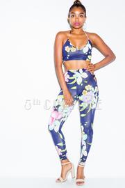 Hawaiian Floral Cropped Yoga Pants Set