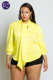 Plus Size 3/4 Sleeved Tie Chest Solid Top