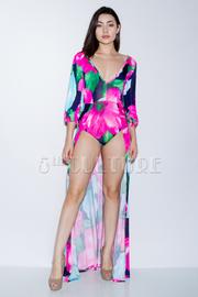 V-neck Paradise Floral Maxi Slits Dress