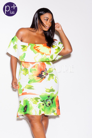 Plus Size Very Cute Floral Off Shoulder Mermaid Midi Dress