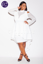 Plus Size Classy Peplum Tail Back Mesh Trim Dress