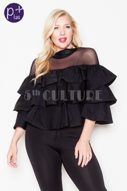 Plus Size Ruffled Mesh Casual Summer Top