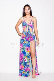 Hawaiian Floral Slit Maxi Dress