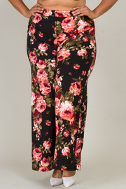 Plus Size In Love With Roses Palazzo Pants