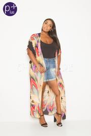 Plus Size Fashion Big Flower Long Cardigan