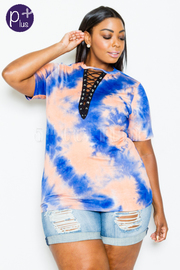 Plus Size Tie Up Eyelet Tie Dye Top