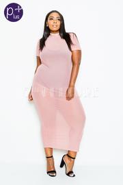 Plus Size All Mesh Maxi Tube Dress