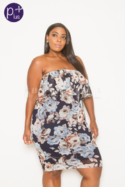 Plus Size Mesh Pretty In Rose Tube Strapless Dress