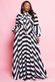 Plus Size Classic Striped Tie Flared Ponti Maxi Dress