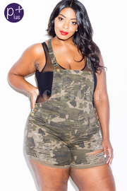 Plus Size Distressed Denim Shorts Overall