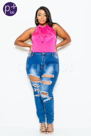 Plus Size Sexy In Destroyed Denim Jeans