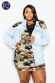Plus Size Cold Shoulder Denim Chain Sliced Back Jacket