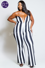 Plus Size Sweetheart Striped Flared Casual Strapless Jumpsuit