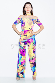 Off Shoulder Colorful Abstract Choker Jumpsuit