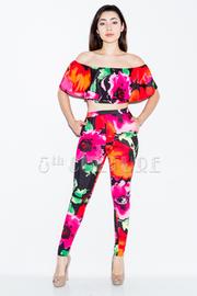 Pretty In Floral Off Shoulder Flounce Pants 2-Piece Set