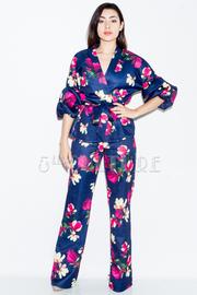 2-Piece Floral Wrap Tie Blazer Pants Set