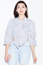 Bow Tie Chest Striped 3/4 Sleeved Top