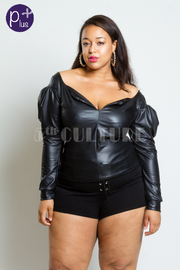Plus Size Sweetheart Off Shoulder Faux Leather Top