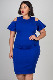 Plus Size Open Shoulder Flirty Sleek Midi Dress