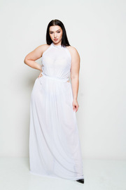 Plus Size Goddess See Through Sleeveless Maxi Dress