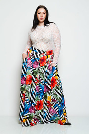 Plus Size High Waisted Striped Hawaiian Maxi Ponti Skirt